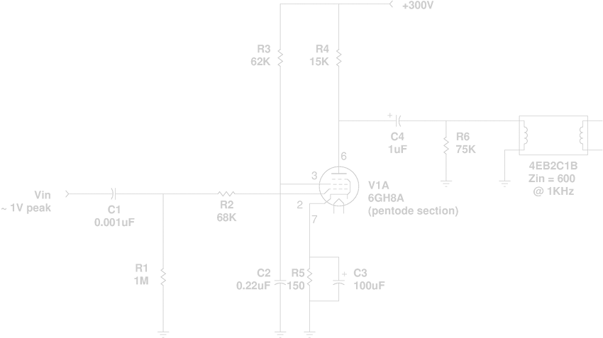 the tube must be biased to a plate current sufficient to supply the  necessary signal (4 5 ma peak) to the reverb tank  but we don't want the  plate current