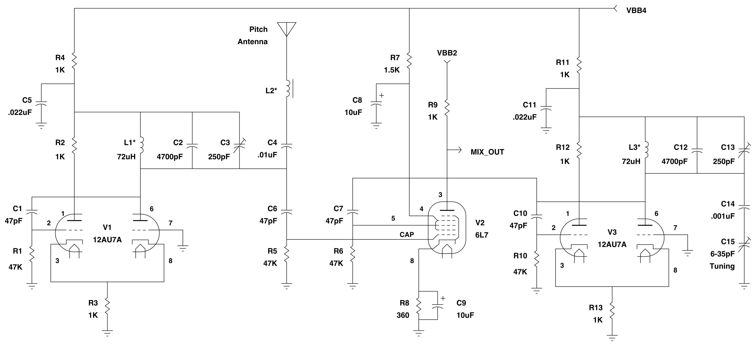 Channel Road Amplification Vacuum Tube Theremin Frequency Audio Oscillator Variable Circuit Pitch Oscillators And Mixer